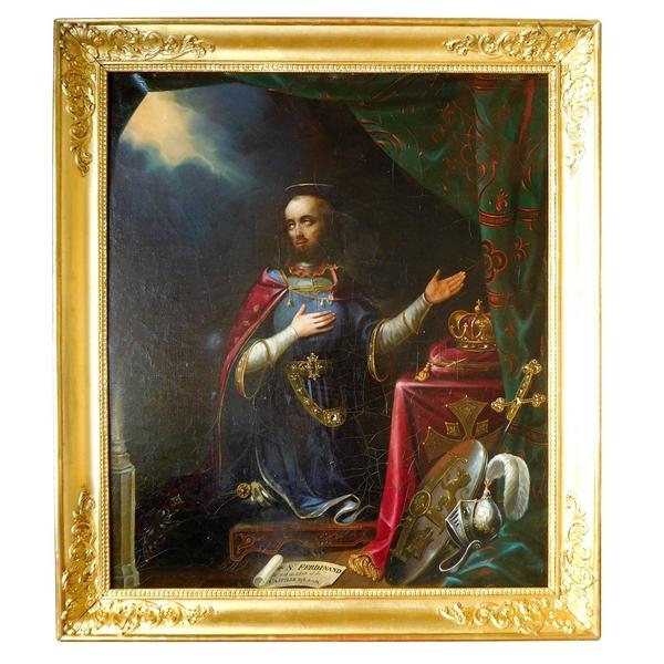 Ecole Française du XIXe siècle, huile sur toile : portrait de Saint Ferdinand III Roi d'Espagne