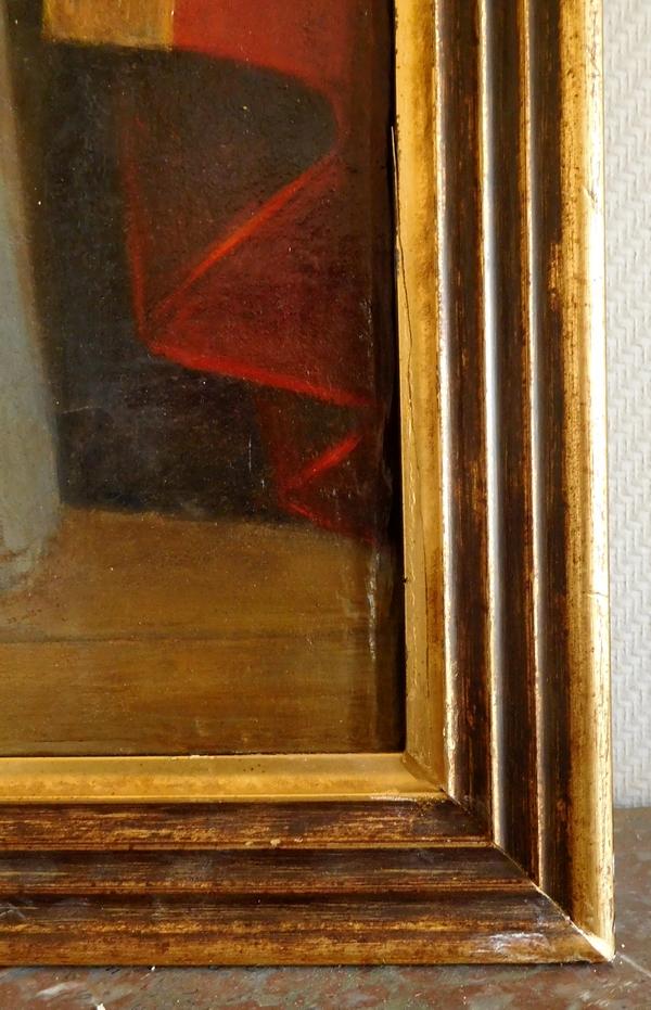 Ecole Française du XVIIIe, grand portrait de Saint Pierre en Pape, huile sur toile - 138,5cm x 57cm