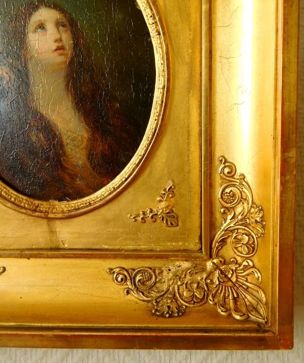 Ecole Française du début XIXe siècle, huile sur panneau : portrait de Sainte Marie-Madeleine