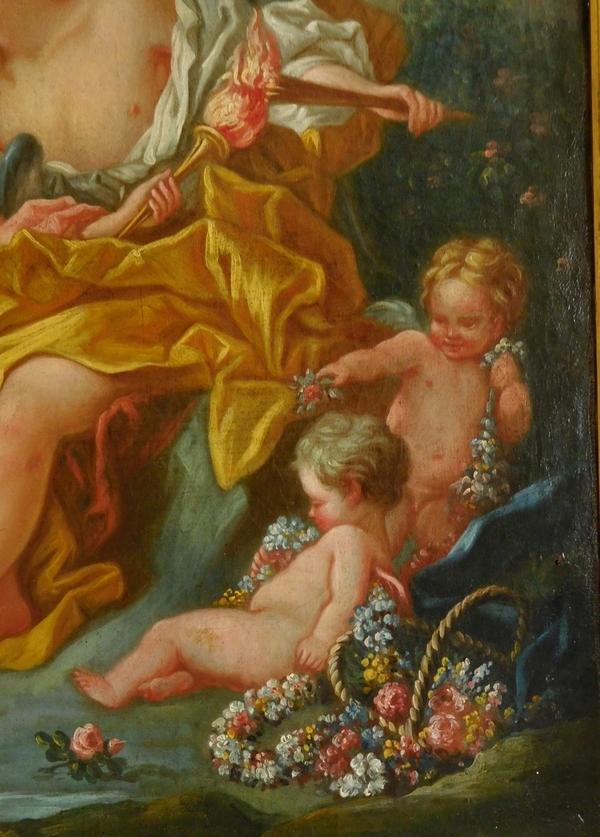 Ecole du XVIIIe siècle, suiveur de Boucher - Venus et Cupidon, scène mythologique, huile sur toile