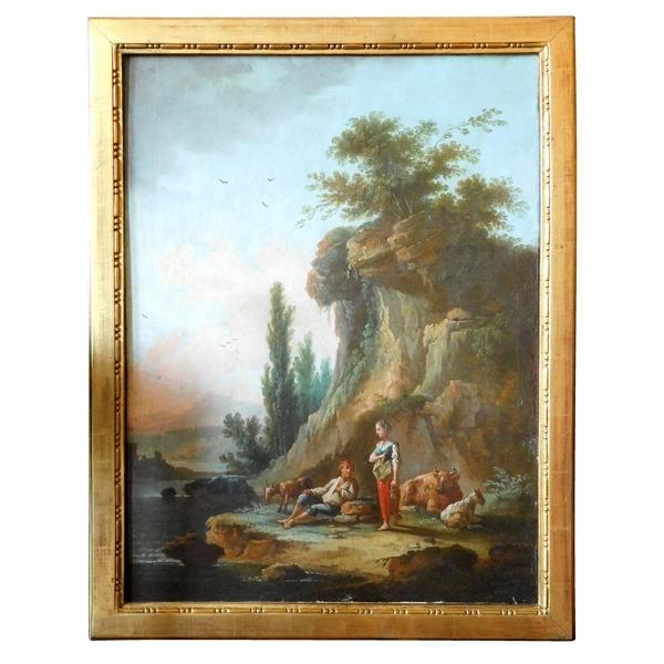 Ecole Française du XVIIIe siècle : scène pastorale, suiveur de Jean-Baptiste Claudot