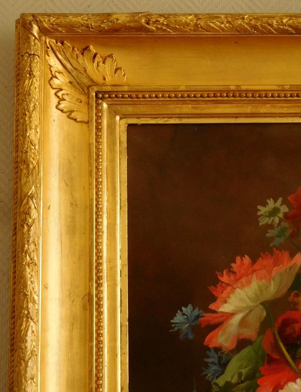 Grande huile sur toile, tableau de fleurs par Clément Gontier, vers 1900 - 91cm x 108cm