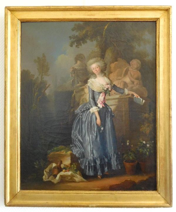 Henri-Nicolas Van Gorp : portrait de jeune femme dans un parc, époque Louis XVI