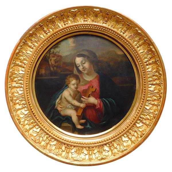Ecole Française du XVIIe ou XVIIIe, huile sur panneau : Vierge à l'Enfant
