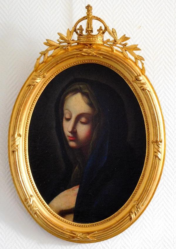 Portrait de la Vierge, huile sur toile XVIIe, beau cadre en bois doré à Couronne Royale